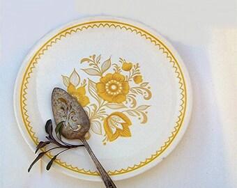 Vintage Serving Plate, Yellow Folk Flower Platter, Round Ceramic Retro Gold Mustard