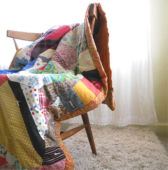RESERVED for Hannah Rose, Vintage Throw Quilt, Very Anthropologie Handmade Crazy Quilt, 1960s Patchwork Quilt