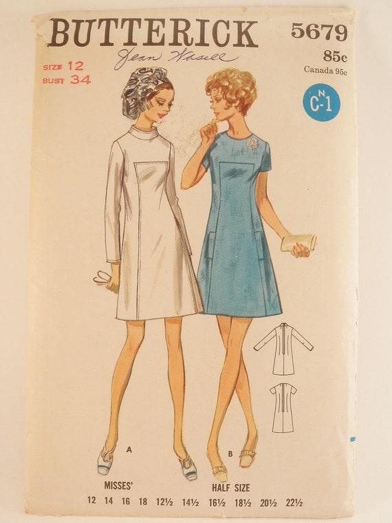 Short Dress Pattern A Line Front Inset 1960s Butterick 5679 Sz 12