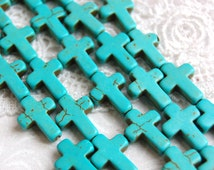1 Strand, 24 beads . Small Stone Cross Beads in TURQUOISE BLUE 16mm x 12mm how0048
