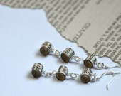 Book earrings, three small beads, made from recycled books