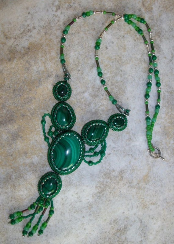 Malachite bead embroidered necklace
