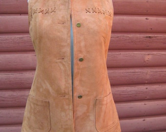 Vintage Tan Suede Hippie Vest