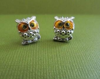 Autumn Owl Stud Earrings Hooter owl, sliver owl