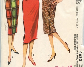 1950s McCalls 4680 Juniors Rockabilly Mad Men Pencil Wrap Skirt in Three Versions Vintage Sewing Pattern Waist 23 1/2