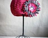 Girls Hot Pink Beanie Hat with Hot Pink Zebra Jewel Flower, 1-11yrs