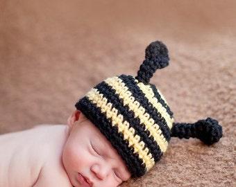 Bee Beanie Crochet Baby Boy Hat Newborn Photography Prop