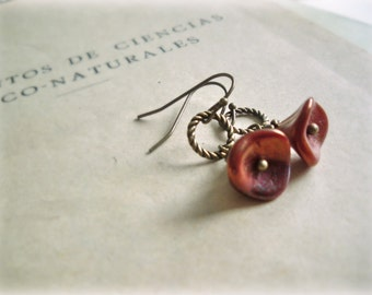 Copper tulips earrings- Czech Glass Flowers antiqued brass loops vintage style gift for her gardener botanist fall everyday jewelry autumn