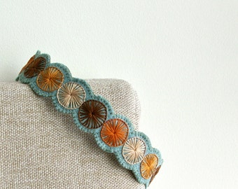 Wool Felt Headband ø Hand Embroidered ø LoftFullOfGoodies