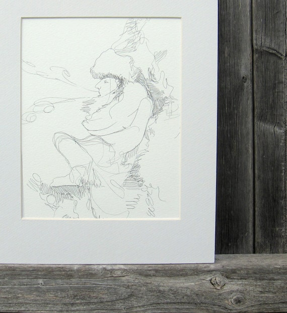 Ink Line Drawing, Original Art, Whimsical Wind