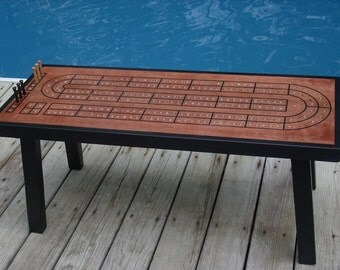 Coffee Table Cribbage Board, Unique Coffee Table, Cribbage Table, Home Decor, Cribbage Board, Red Chestnut Minwax with Black Accent Border