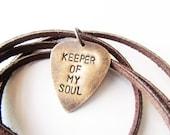 Mens Necklace Hand Stamped Metal Guitar Pick jewelry - keeper of my soul - men gift groom husband boyfriend