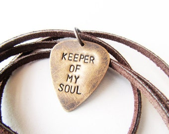 Mens Necklace Hand Stamped Metal Guitar Pick jewelry - keeper of my soul - men gift groom husband boyfriend, handmade jewelry
