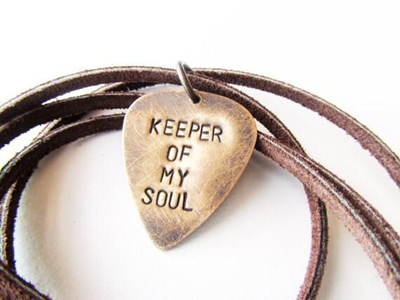 Mens Necklace Hand Stamped Metal Guitar Pick jewelry - keeper of my soul - men gift groom husband boyfriend, handmade jewelry