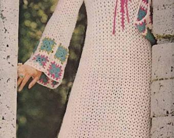 1970s Boho Maxi Dress VINTAGE CROCHET PATTERN - Granny Squares, Folk/Romantic/Gypsy style Robe, Instant Pdf from GrannyTakesATrip 0039