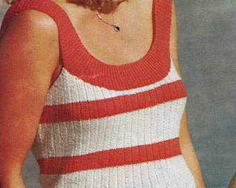 Knit Cropped Suntop & Cardigan 1970s VINTAGE KNITTING PATTERN,Boho/Retro Striped Summer Twinset, Instant Pdf from GrannyTakesATrip 0131