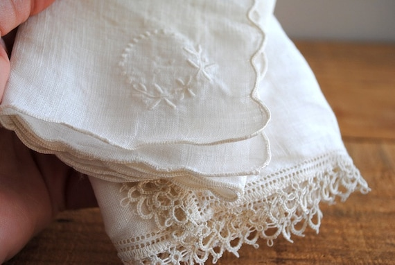 Vintage White Handkerchief - Something Old Embroidered Linens