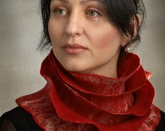 Handmade wool felted long scarf Red Rose Ruffle Style