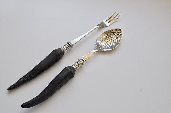 Berry Spoon and Pickle Fork Horn Handle