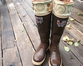 SLUGS Fleece Rain Boot Liners Mustard Brown, Geometric Graphic Neutral Cuff, Autumn Fall Winter Fashion (Sm/Med 6-8 Boot)