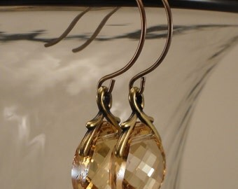 Golden Shadow Swarovski Crystal and Brass Earrings