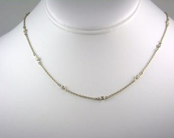 Necklace - 14K Gold Plate - Cubic Zirconia