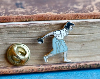 Bowling Girl Badge - Small Pin Brooch
