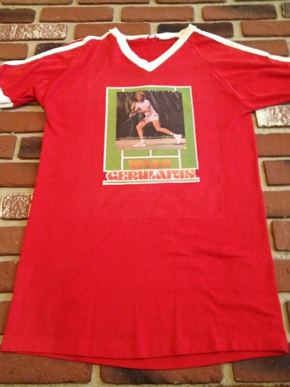 """Large """"Vitas Gerulatis"""" Tennis Shirt with Stripes"""