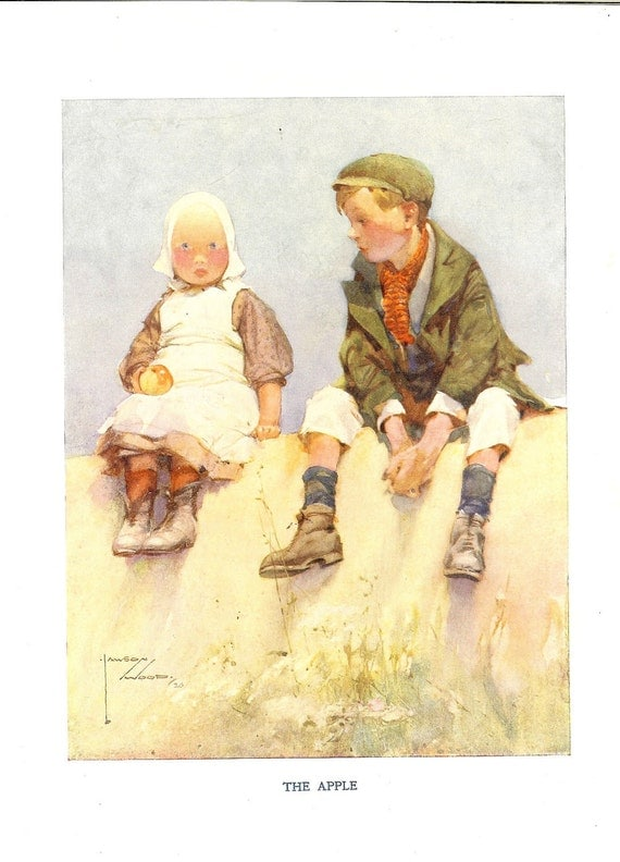 1920s Lawson Wood Children's Print  Young Boy And Girl Sitting On Wall Holding Shiny Apple Looking Longingly Vintage Book Plate