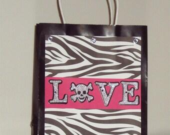 "Zebra Print ""Love"" Gift Bag - Zebra Gift Bag - Hot Pink and Zebra Print Gift Bag - Hot Pink and Zebra - Gift Bag"