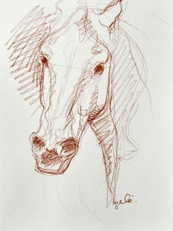 OOAK Horse Head Sketch 136