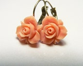 Peach Rose Resin Floral Leverback Earrings with Antique Brass