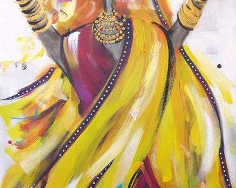 Bollywood 8 - Blank Greeting Card by Australian artist Christine Donaldson