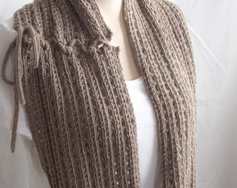 Knitting Pattern Cowl, The Mokaccino Cowl, Infinity Scarf, Brown, Moka