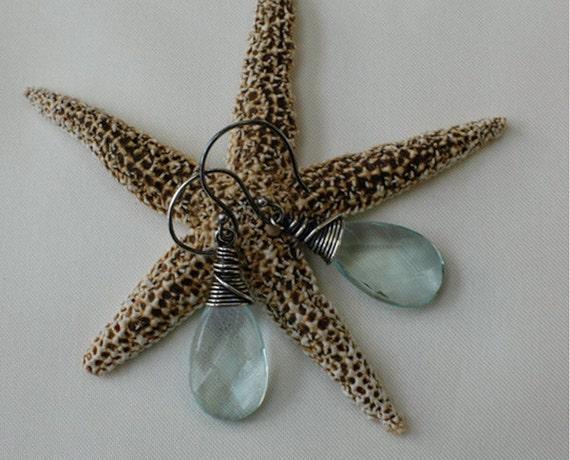 Light Blue Faceted Teardrop Glass Oxidized Sterling Silver Wirewrapped Dangle Earrings