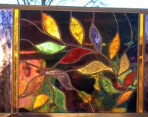 Stained Glass Window Panel Brilliant Mardi Gras Leaves Black amber gold green red purple