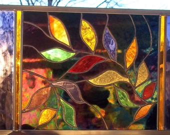 Stained Glass Window Panel leaves Mardi Gras Leaves Black amber gold green red purple
