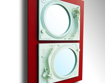 2Seduce - Technics Turntable Inspired Mirror Sculpture - White & Red  - Original Contemporary British Art