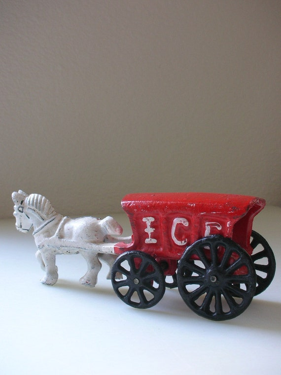 Cast Iron Horse Drawn Ice Truck Carriage - Vintage Ice Cart from The Back part of the Basement