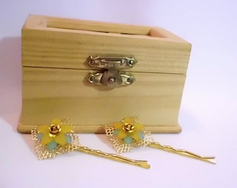Gold and Light Blue & Orange Flower Bobby Pin Set