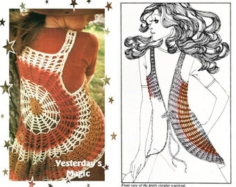 Instant Download PDF Crochet Pattern to make a Hippy Cobweb Circular Bolero Waistcoat Gilet Vest Shrug to fit 32 to 36 inch Bust