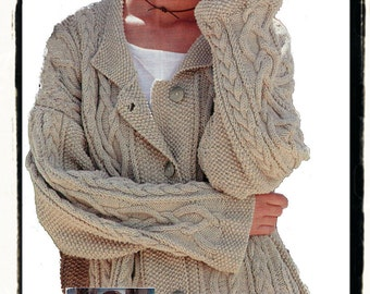 Knitting Pattern For Swing Sweater : Popular items for aran on Etsy