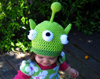 Little Green Monster Hat Crochet Pattern PDF - fun hat includes instructions for beanie, earflap, braids - Instant Digital Download