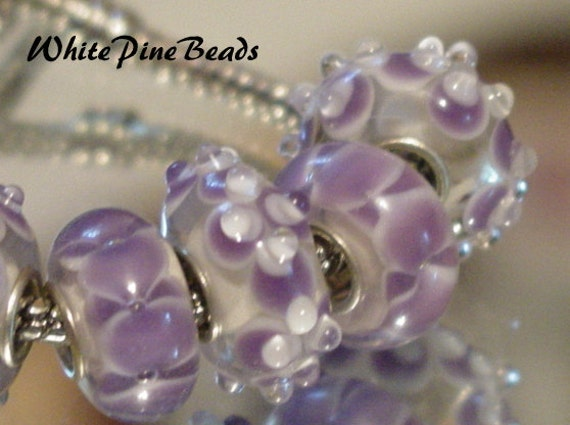Murano Glass Beads  6 PC Set for European Style Charm Bracelets WhitePineBeads