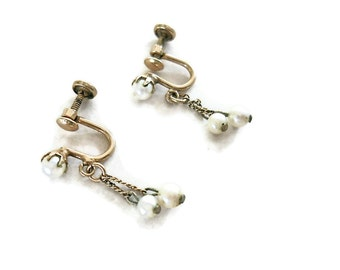 Vintage Pearl Earrings Dangle 1920s 12 KT G.F. Feminine and Delicate Bridal Jewelry