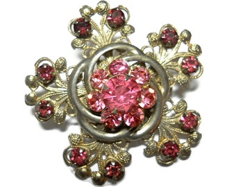 Art Nouveau Brooch Pink Stones Bridal Wedding Jewelry