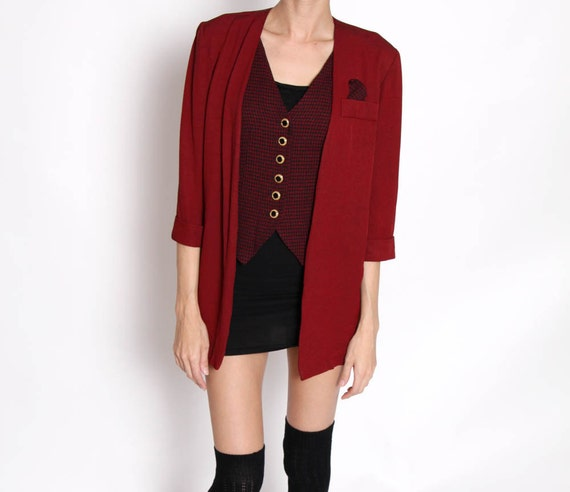 Vintage 80s Burgundy Oversized Blazer with Vest