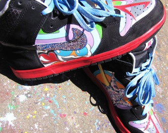"Hand Painted Nike Dunk High ""Parliament"" Custom Sneakers"
