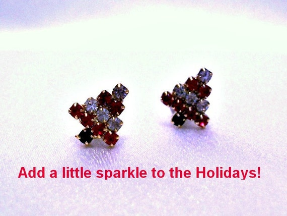 Christmas Tree - Crystal Earrings - Vintage Jewelry