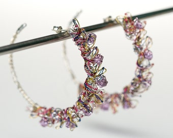 Flower earrings, large hoop earrings, wire sculptural earring, art, luxury, boho, bridal jewelry, violet earrings, anniversary gift for her